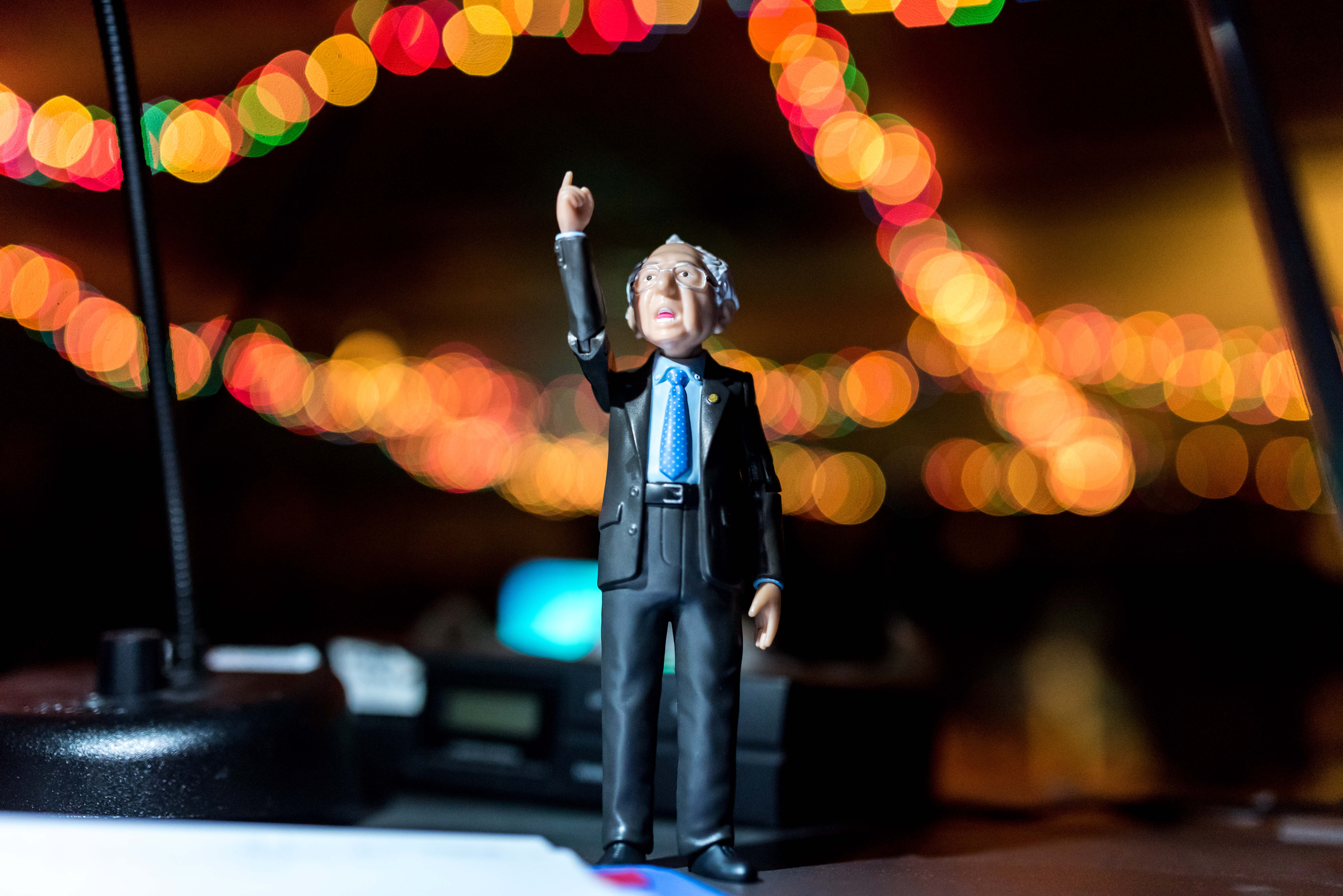 A Bernie Sanders action figure at the soundstage